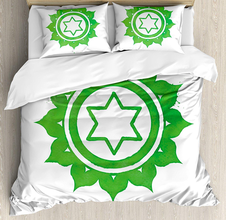 Chakra décor housse de couette ensemble Anahata roue avec motif étoile au milieu traditionnel spirituel ethnique graphique travail ensemble de literie