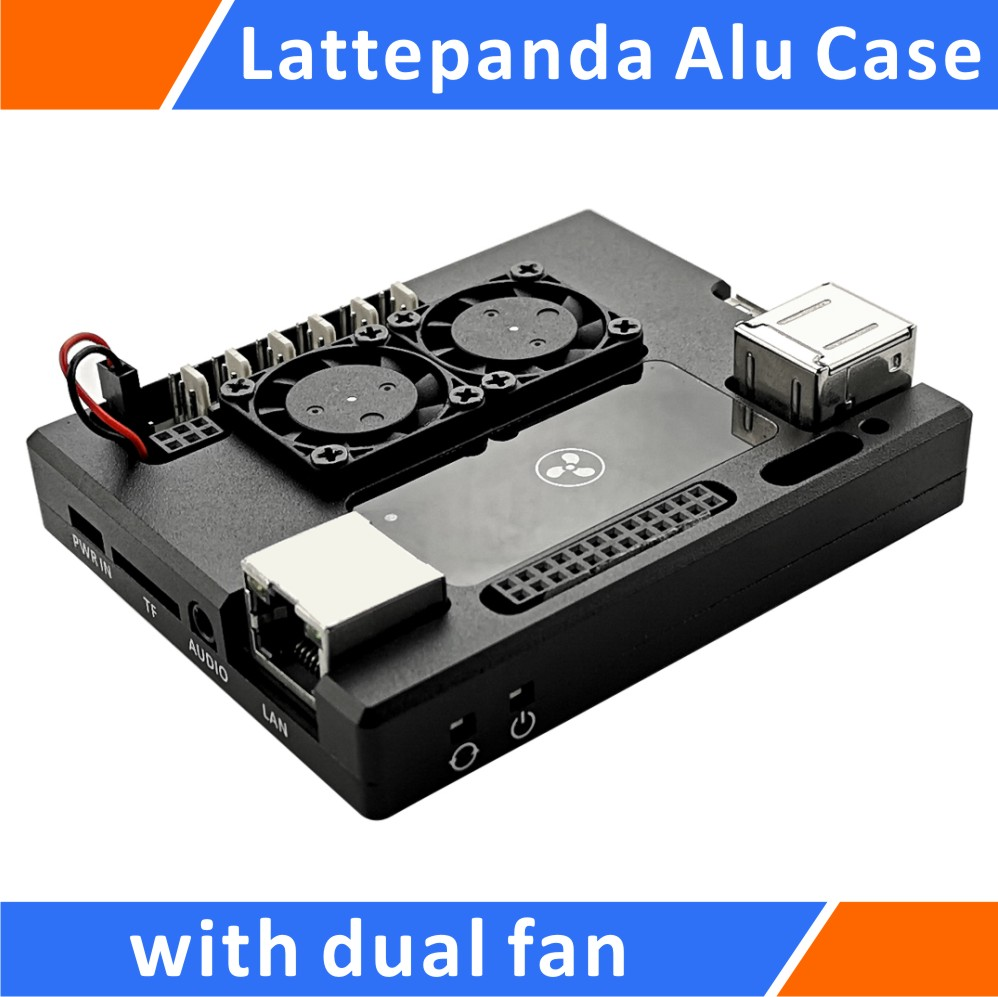 LattePanda Aluminum Case With Dual Super Mute Cooling Fan Black By Eleduino