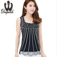 Dingaozlz Female Vest Tops Summer large size Women blouse Fahsion Patchwork Mesh Diamond shirt Elegant Sleeveless Women shirt