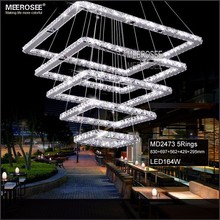 MEEROSEE luces led decoracion LED pendant Lights Rectangle Crystal Hanging Lamp Modern Stair Light for Hotel Hallway