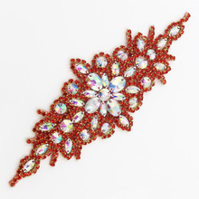 9.4*3 Inches Crystal Rhinestones Applique for Wedding Dress Costume Trimming Sewing Iron on 7 Colors
