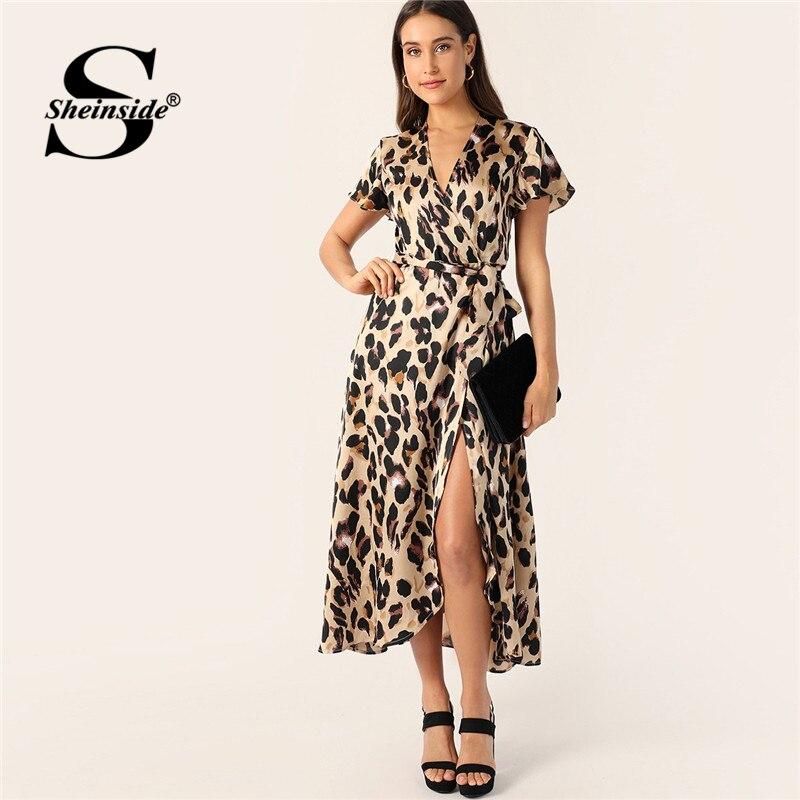 Sheinside Сплит ремень обертывание атласное леопардовое платье подходит и расклешенные в стиле бохо с высокой талией платья Глубокий v-образный...