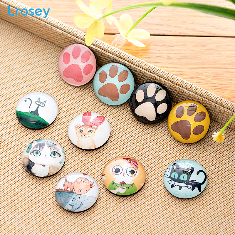 Us 1 19 40 Off Gl Refrigerator Magnets Creative Lucky Cat Crafts Diy House Home Decoration Accessories Retro Cartoon Animal Fridge In