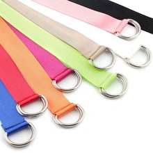 New canvas nylon webbing womens belt fashion double ring buckle ladies long