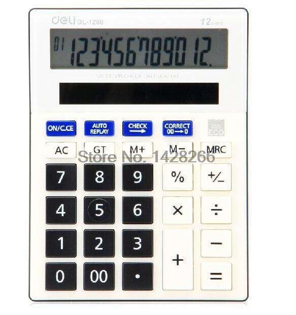 Deli Dual Power Supply font b Calculator b font 1280a Solar Panel 12 Digits Large LCD
