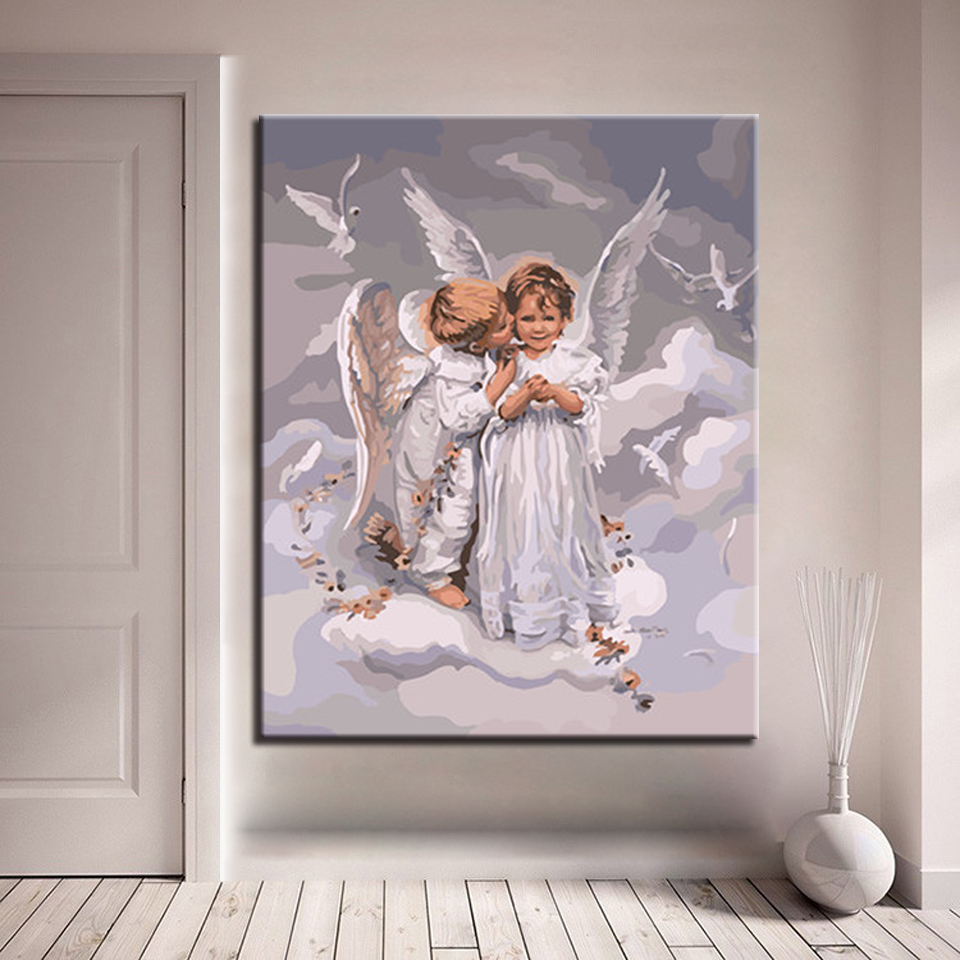 The Child Boy Kiss White Coat Angel Picture By Numbers Kits Hand painted Oil Style On Linen Canvas Unique Gift DIY Painting