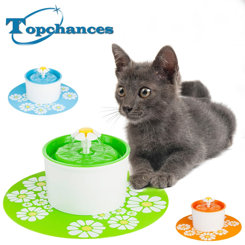 High Quality Flower Style New Automatic Cat Dog Kitten Water Drinking Fountatin Pet Bowl Dish Drink Filter + Mat high quality colorful cartoon pet bowl cat feeder