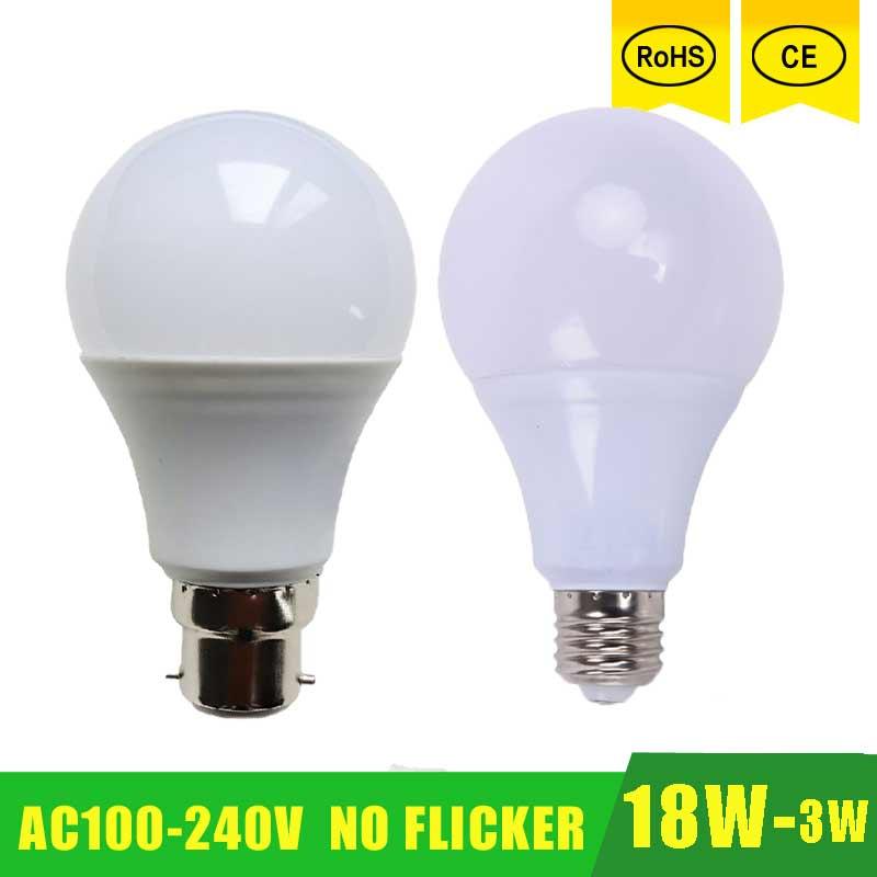 High Power E27 B22 LED Lamp Bulb Light Spotlight Led Light Bulb Lampada Led E27 Lamparas 18W 15w 12w 9w 100-240v LED Bombillas