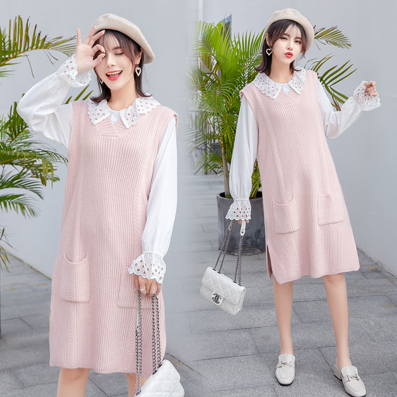 8008# Sweet Maternity Blouses + Tank Sweaters Sets Autumn Winter Korean Fashion Clothes for Pregnant Women Fall Pregnancy Dress