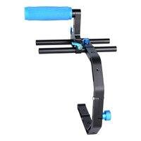 Professional Video DSLR Camera Handle C Shape Bracket Arm Support+Handle Grip for 15mm Rod DSLR Rig Support System