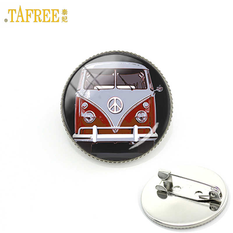 TAFREE 2017 new  design peace sign van bus brooch pin fashion silver color glass cabochon hippie car badge brooches CT89