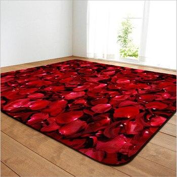 로즈 인쇄 발렌타인 데이 선물 거실 용 대형 지역 카펫 3d 홈 인테리어 침실 매트 욕실 미끄럼 방지 m 러그