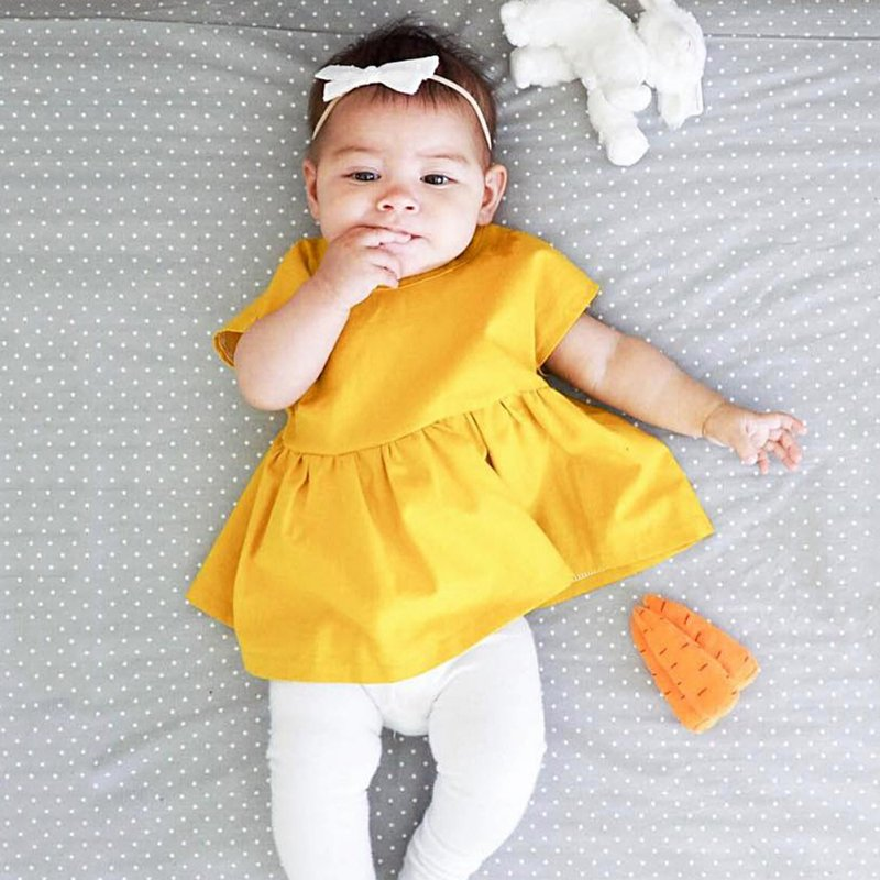 Summer Baby Girls Princess Pageant Party Dress Newborn Kids Clothes Yellow 0-24M