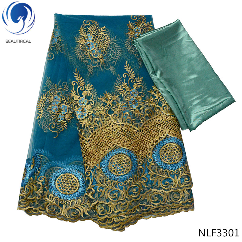 Beautifical new design tulle lace fabrics with beads gold Embroidered 5 yards and 3 yards satin lace fabrics for women NLF33