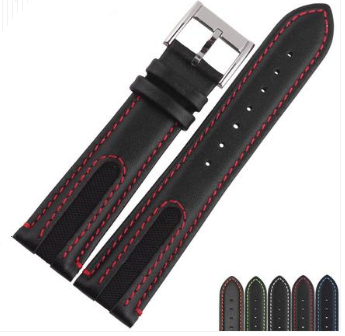 21mm (18mm buckle)Men Women Black Black with Blue Green Orange White Red Watch Band Real Leather Band Strap Belt Silver Buckle eache silicone watch band strap replacement watch band can fit for swatch 17mm 19mm men women