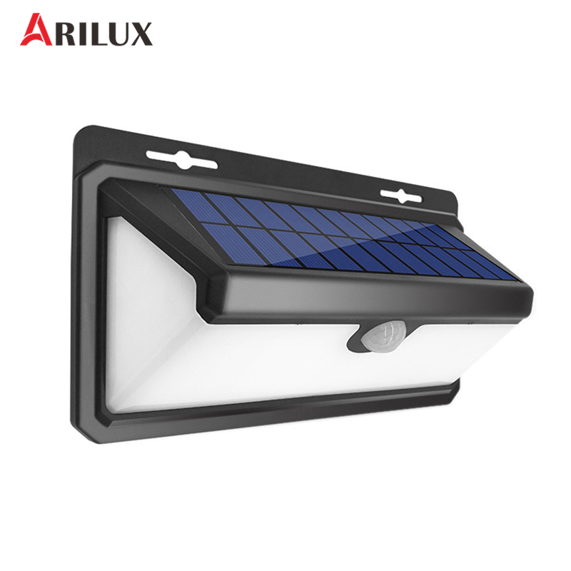 ARILUX 4.4W 100 LED Solar Lamp Light PIR Motion Sensor Outdoor Waterproof Garden Wall Light Security 3 Modes arilux 4 4w 100 led solar wall lamp light pir motion sensor outdoor waterproof garden security street light with 3 modes