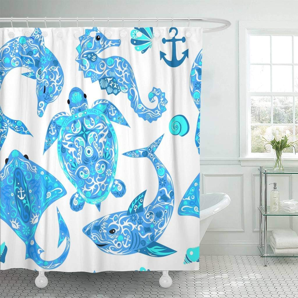 Us 17 06 36 Off Shower Curtain Hooks Anchor Marine Animals Deep Water Turtle Dolphin Drawing Sea Horse Shark Curl Decorative Bathroom In Shower