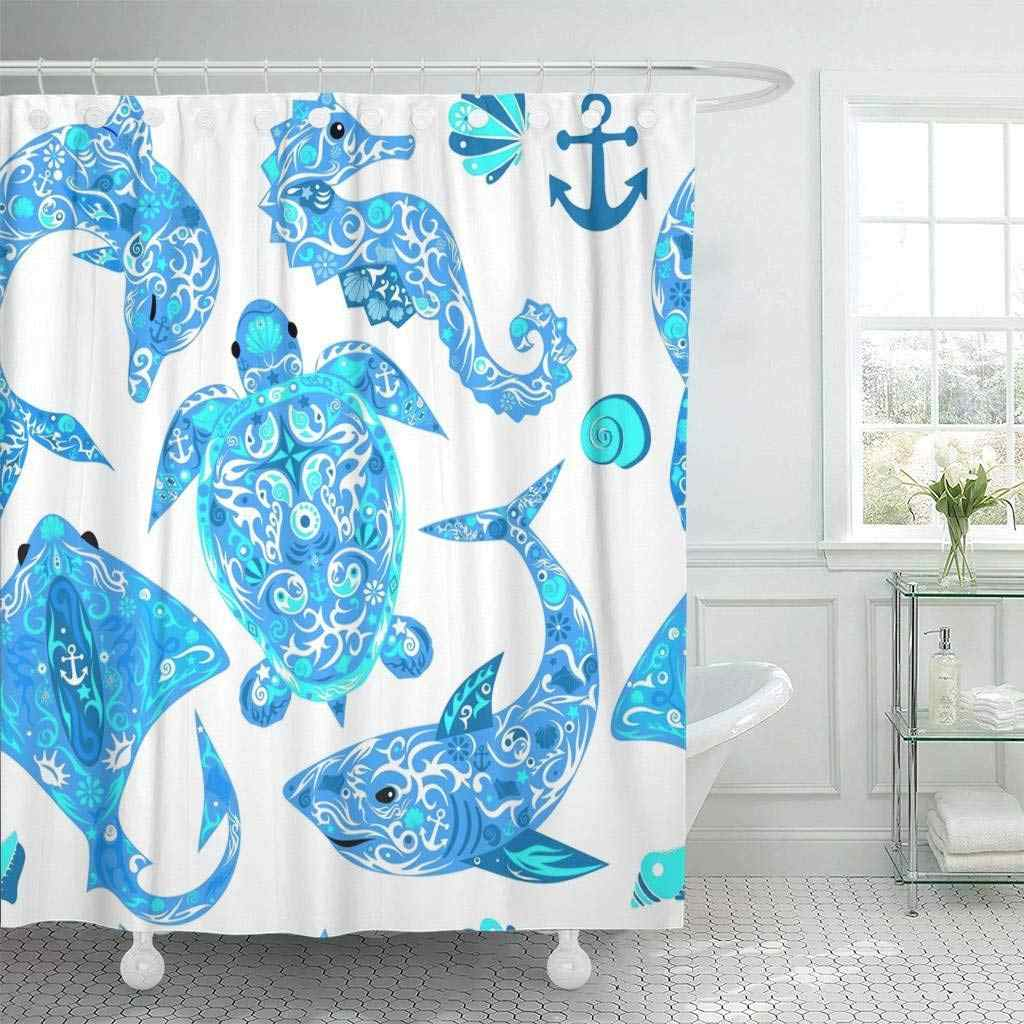 Shower Curtain Hooks Anchor Marine Animals Deep Water Turtle Dolphin Drawing Sea Horse Shark Curl Decorative Bathroom