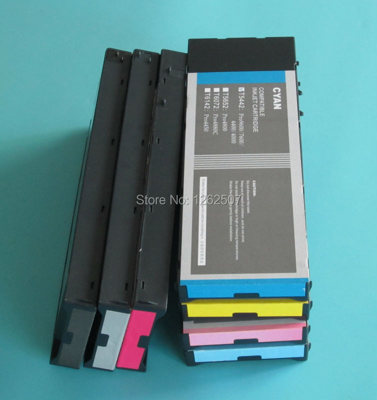 Full ink cartridge For Epson 7600 9600 with Dye ink compatible cartridge For Epson Stylus Pro 7600 T544 with water based dye ink hot with show ink level chip for epson stylus pro 7700 9700 ink cartridge for epson wide format printer