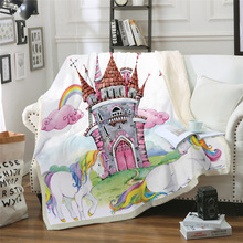 Sofa cushion Yoga mat Blanket Air Conditioner Thick Double-layer Plush 3D Digital Printed Unicorn Series