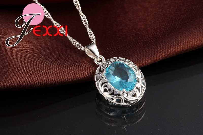 למעלה כיתה חתונה תכשיטים עבור כלה 925 סטרלינג כסף כחול קריסטל זירקון עגילים + טבעת + שרשרת כלה תכשיטי סטים