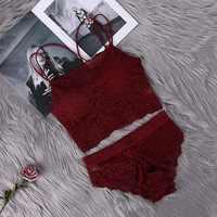 Transparent Spitze Bh und Panty Set Frauen Sexy Dessous Bh Set Dessous Damen Unterwäsche Set