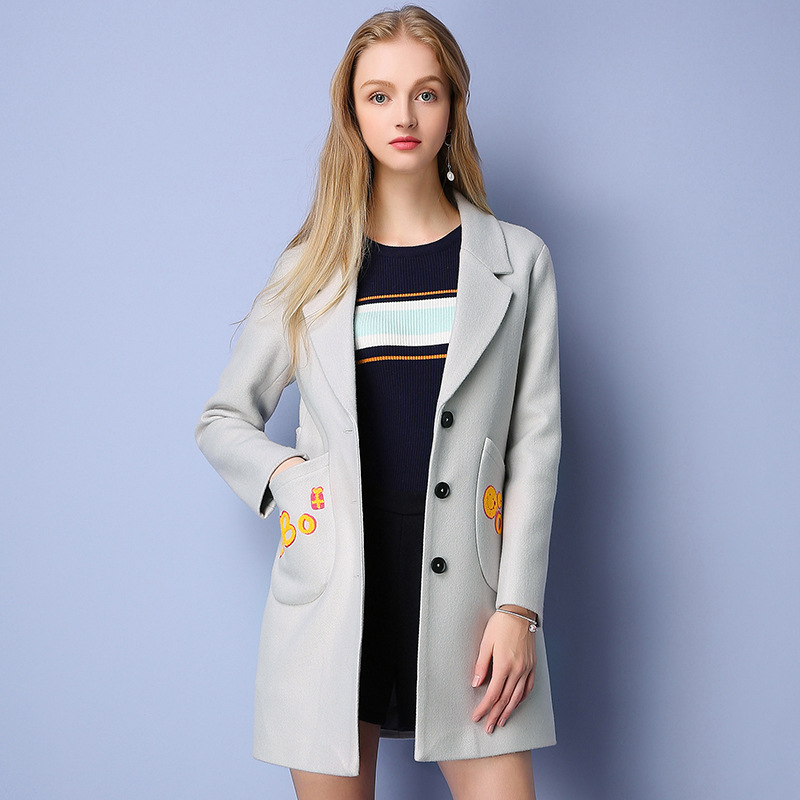 New Arrival 2016 Winter Brand Women's Single Breasted Suit Collar Wide-waisted Bmbroidered Long-section Casual Woolen Coat