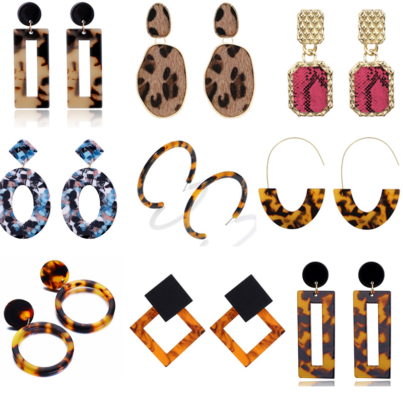 25 Colour Leopard Print Long Dangle Earrings For Women Vintage Leather Round Square Gold Color Punk Big Drop Earring Jewelry muñeco buffon