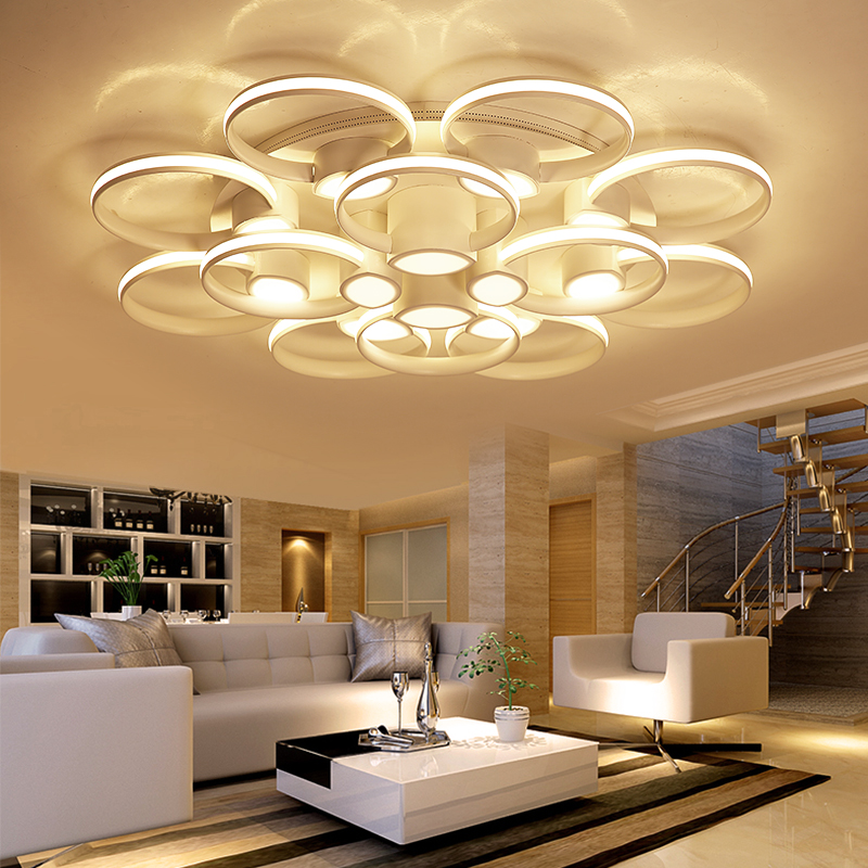 rings white finished chandeliers LED circle modern chandelier lights for living room acrylic Lampara de techo indoor Lighting modern acrylic led wall lights bedroom bedside wall lamp lampara de pared bed room decoration lighting wall sconces