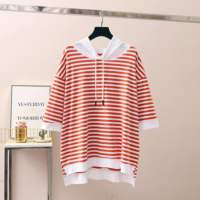 New Korean Fashion Large Size Women Hoodies Pullovers Striped Short Sleeve Printing Loose Hooded Sweatshirts Female Autumn W097