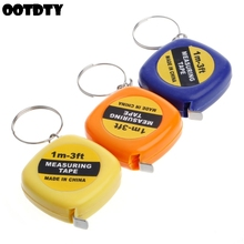 Easy Retractable Ruler Tape Measure Mini Portable Pull Keychain 1m/3ft