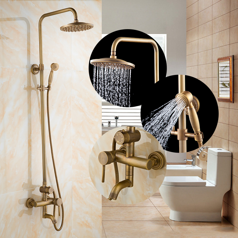European Antique bathroom rain shower faucet set wall mounted, Copper shower set mixer water tap hot and cold vintage china sanitary ware chrome wall mount thermostatic water tap water saver thermostatic shower faucet