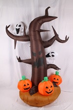 2.4m EU Plug Inflatable Halloween Tree with Pumpkins and Cute Elfins for Halloween Festival Decoration