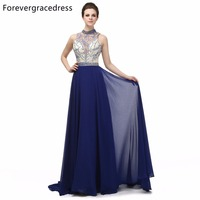Forevergracedress Real Photos Navy Blue Evening Dress A Line High Neck Beaded Backless Long Party Gown Plus Size Custom Made