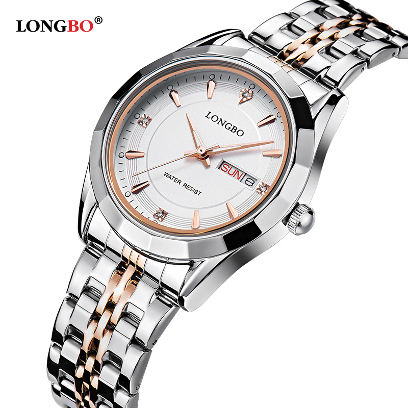Prix pour Longbo marque movt quartz montres femmes en acier inoxydable résistant à l'eau de retour datejust hommes de poignet montres relogio masculino 80164