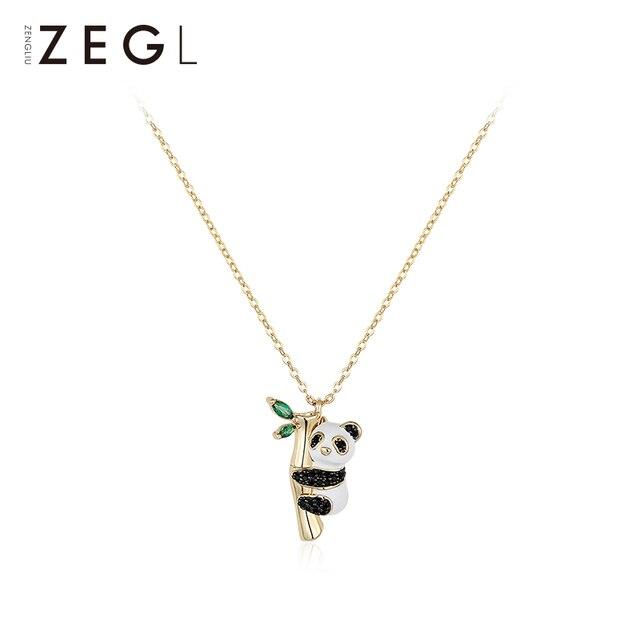 ZEGL สร้อยคอสัตว์ PANDA สร้อยคอผู้หญิงจี้ clavicle CHAIN สไตล์จีนคอสร้อยคอสร้อยคอโซ่