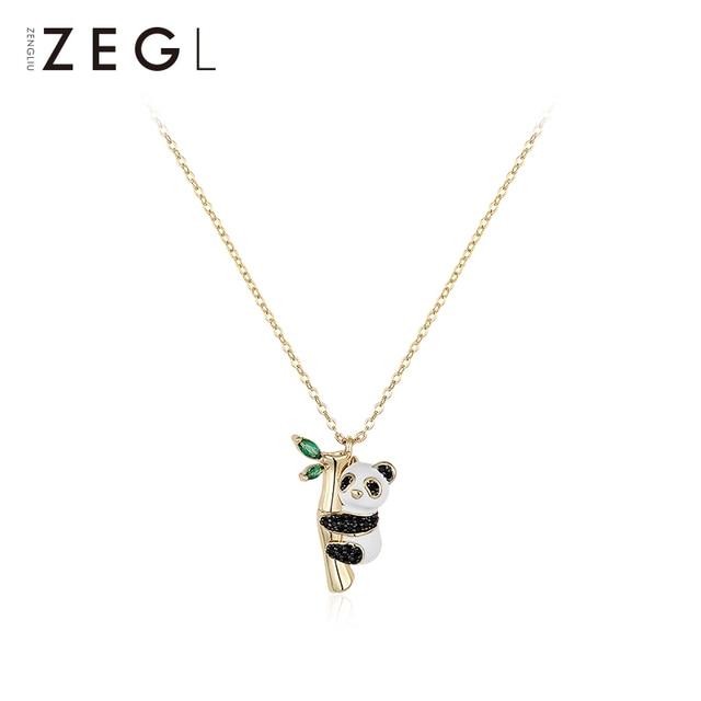 ZEGL בעלי החיים שרשרת פנדה שרשרת אישה תליון עצם הבריח שרשרת בסגנון סיני שרשרת צוואר שרשרת
