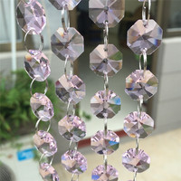 Free shipping DIY ,AAA Top quality, Nice 14mm 100m Pink Octagon Glass Garland Strands, Crystal Beads Curtain,Wedding Decoration