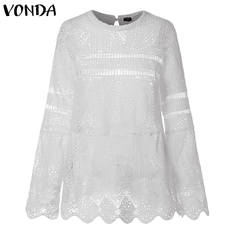 VONDA Women Sexy Hollow Top Blouse 2019 Casual Long Sleeve Irregular Hem Patry Blusas Beach Tops Ladies Shirt Plus Size Clothes in Blouses amp Shirts from Women 39 s Clothing