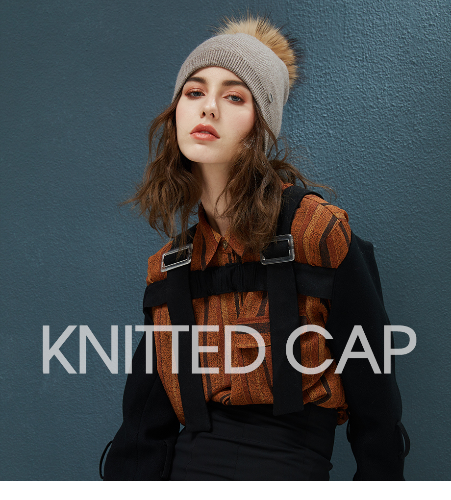 Autumn Winter Beanies Hat For Women Knitted Wool Skullies Casual Cap With Real Raccoon Fox Fur Pompom Solid Colors Ski Beanie (1)