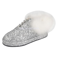 luxury rhinestones casual shoes lace up bling fur decoration flat crystal paillette cozy women new