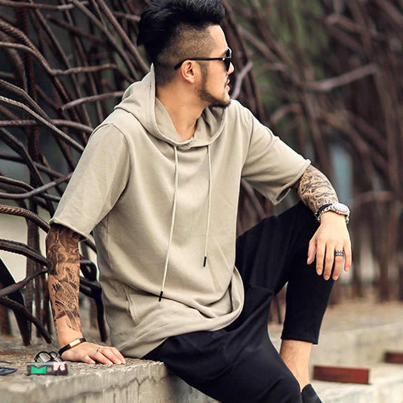 Mannen nieuwe lente solid hooded zwarte korte mouw sweatshirt metroseksueel mannen hoodies fashion katoen casual brand design F013
