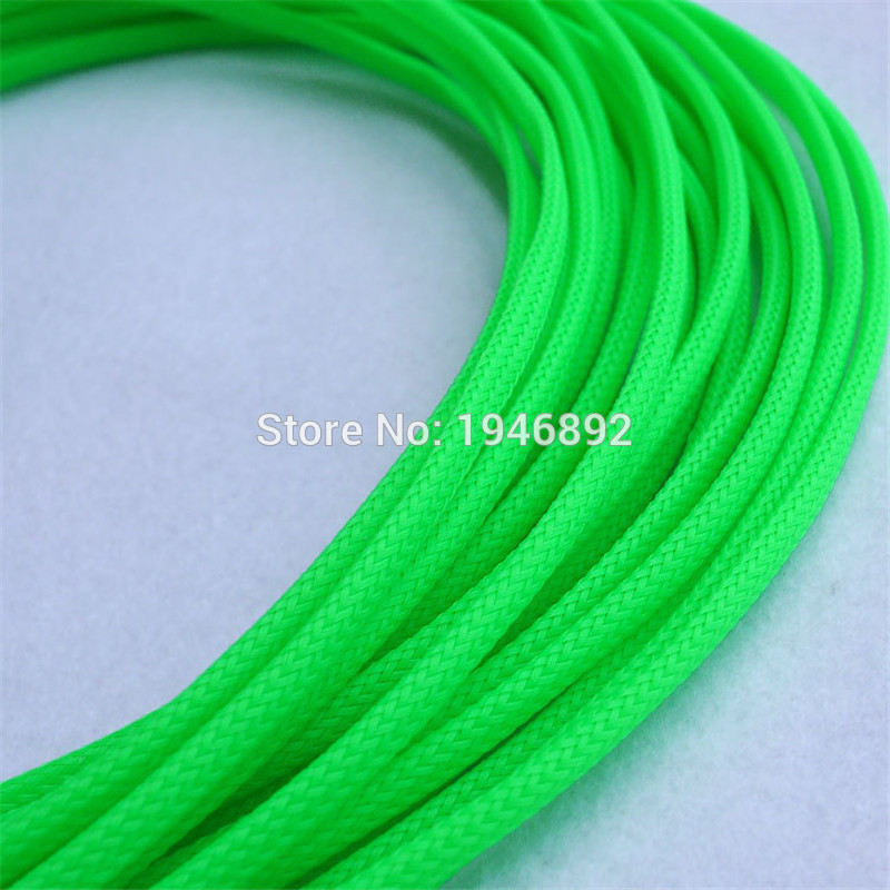 151050200 Meters Green - High quality 4mm Braided PET Expandable Sleeving High Density Sheathing Plaited Cable Sleeves