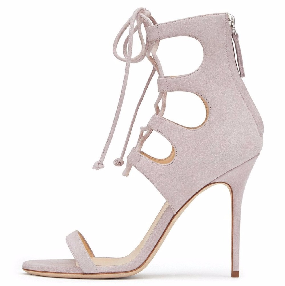 ФОТО 2016 New Fashion  Peep Toe Lace Up Back Zip Pumps Ankle Wrapped Stiletto Heel Sandals Suede Cut Out Elegant Shoes Big  size 15
