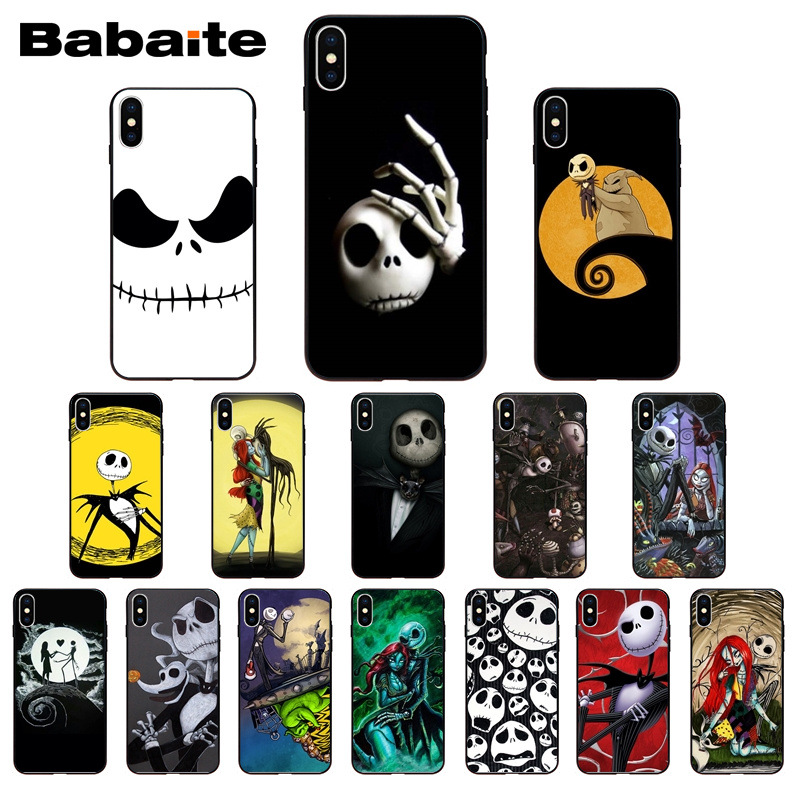 huge discount d96fb 399e7 Nightmare Before Christmas Halloween Soft Silicone Black Phone Case For  Iphone X XS MAX 8 7Plus 5S SE 6S XR Cover Babaite