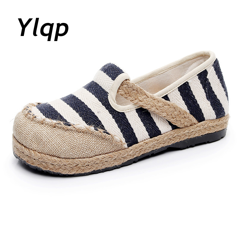 YLQP Striped Women Casual Cotton Cloth Loafers Handmade Slip on Ladies Thick Hemp Soled Canvas Flat Shoes Zapato MujerYLQP Striped Women Casual Cotton Cloth Loafers Handmade Slip on Ladies Thick Hemp Soled Canvas Flat Shoes Zapato Mujer