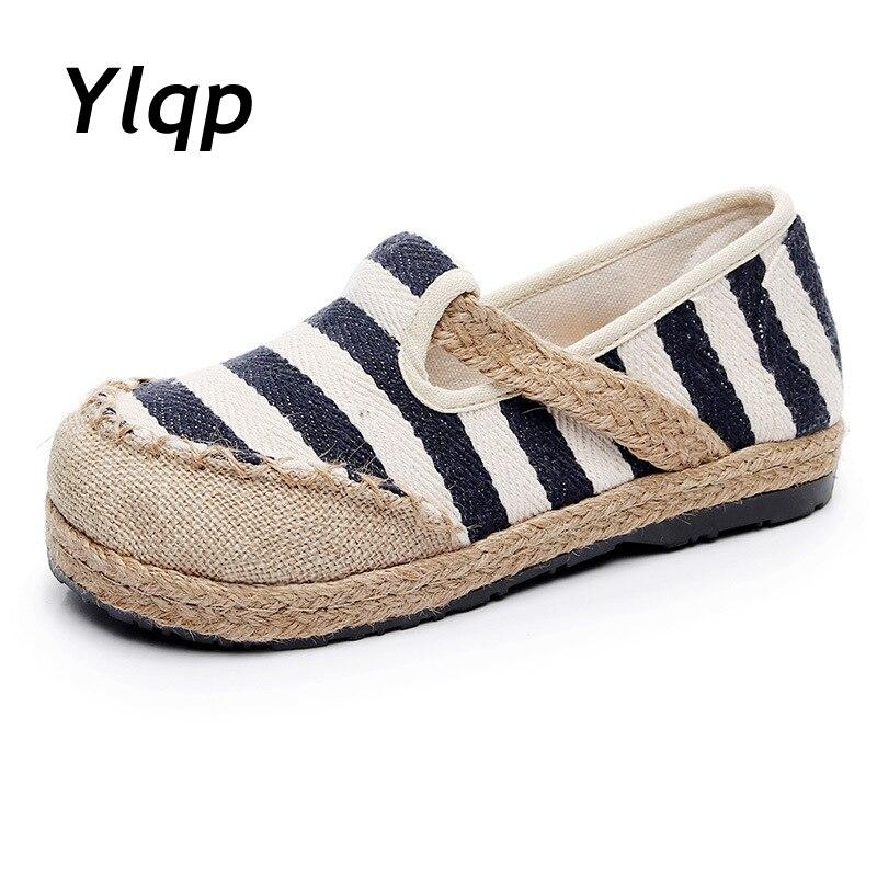 YLQP rayé femmes décontracté coton tissu mocassins Slip on dames semelle épaisse chanvre toile chaussures plates à la main Zapato Mujer | AliExpress