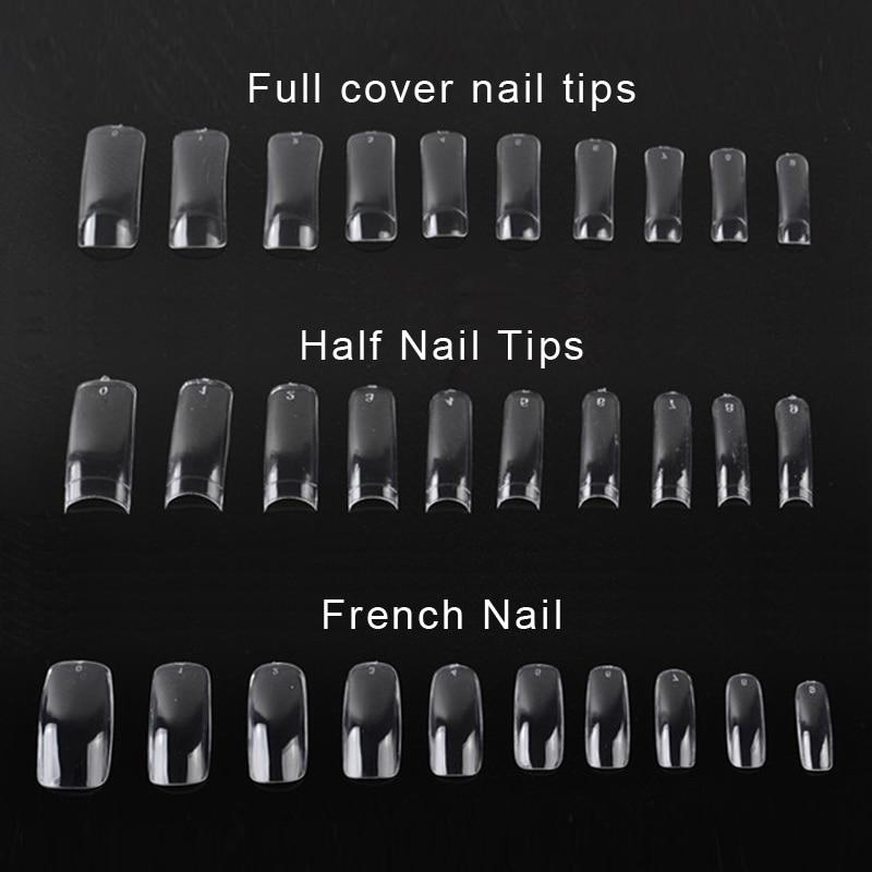 5000 PCS Clear False Acrylic UV Gel Full Half French Transparent Nail Art Tips For Women Nail Beauty Tools 500pcs/set