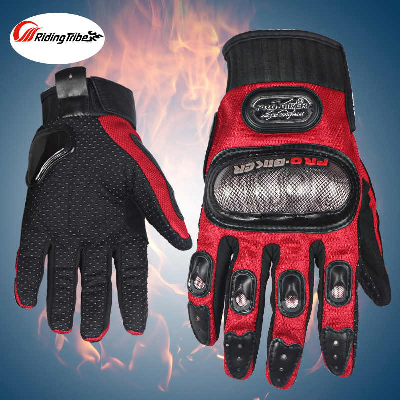 PRO-BIKER Motorcycle Full Finger Gloves Offroad Racing Motocross Dirt Bike Riding Ski Scooter Protective Glove Blue Red BLK Grey
