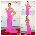 Hot Pink One Shoulder Crystal Beaded Sexy Sheath Celebrity Dresses Women Evening Dress Long Red Carpet Gowns